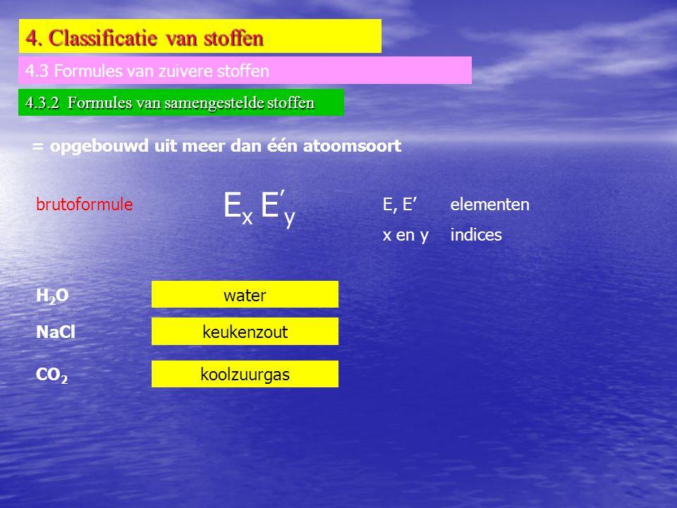 4. Classificatie van stoffen 4.3 Formules van zuivere stoffen 4.3.2 Formules van samengestelde stoffen = opgebouwd uit meer dan één atoomsoort brutofo