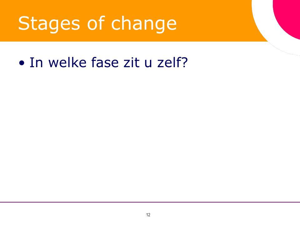 12 Stages of change •In welke fase zit u zelf?