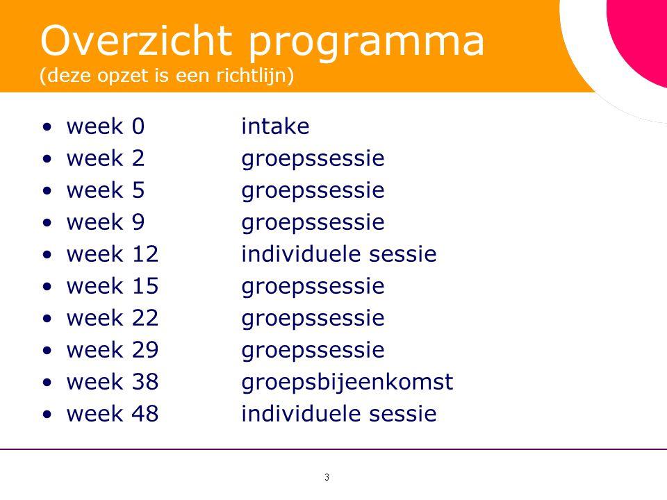 3 Overzicht programma (deze opzet is een richtlijn) •week 0 intake •week 2 groepssessie •week 5 groepssessie •week 9 groepssessie •week 12 individuele