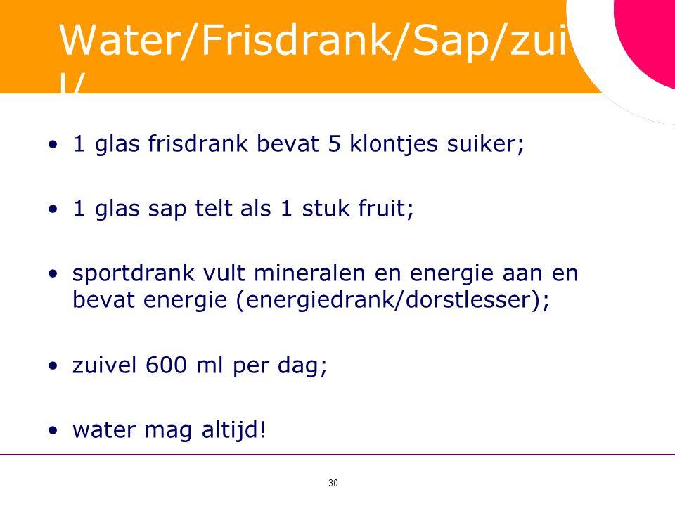 30 Water/Frisdrank/Sap/zuive l/ sportdrank? •1 glas frisdrank bevat 5 klontjes suiker; •1 glas sap telt als 1 stuk fruit; •sportdrank vult mineralen e