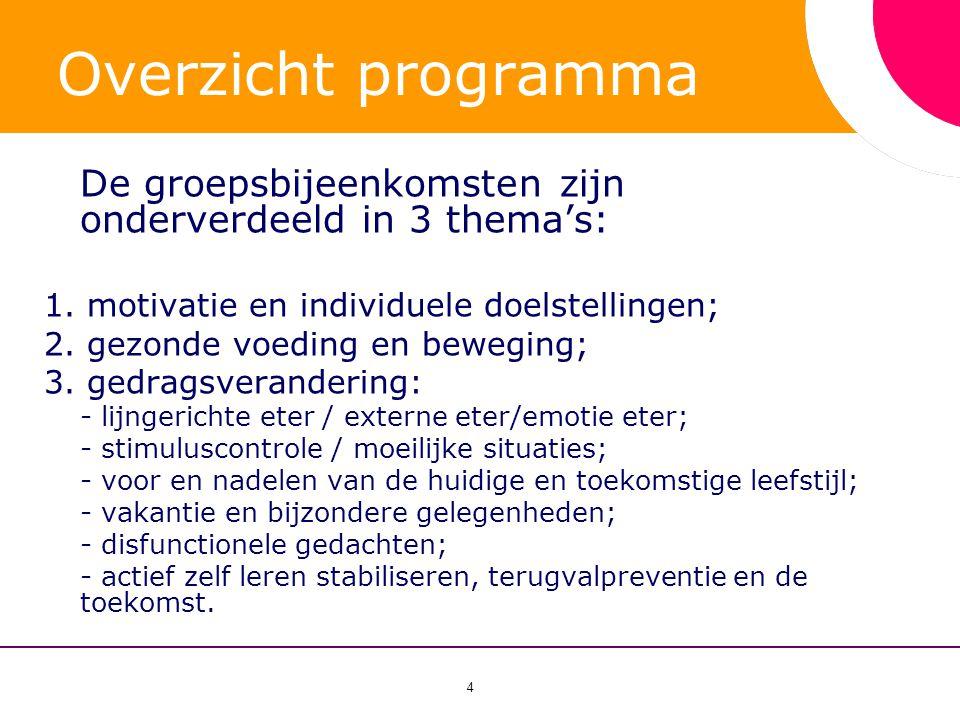 4 Overzicht programma De groepsbijeenkomsten zijn onderverdeeld in 3 thema's: 1. motivatie en individuele doelstellingen; 2. gezonde voeding en bewegi