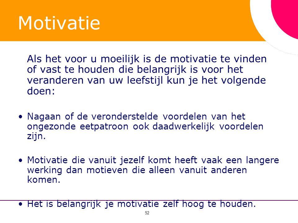 52 Motivatie Als het voor u moeilijk is de motivatie te vinden of vast te houden die belangrijk is voor het veranderen van uw leefstijl kun je het vol