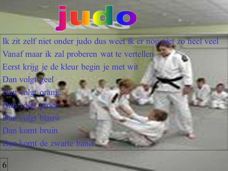 Ik zit zelf niet onder judo dus weet ik er nog niet zo heel veel Vanaf maar ik zal proberen wat te vertellen Eerst krijg je de kleur begin je met wit