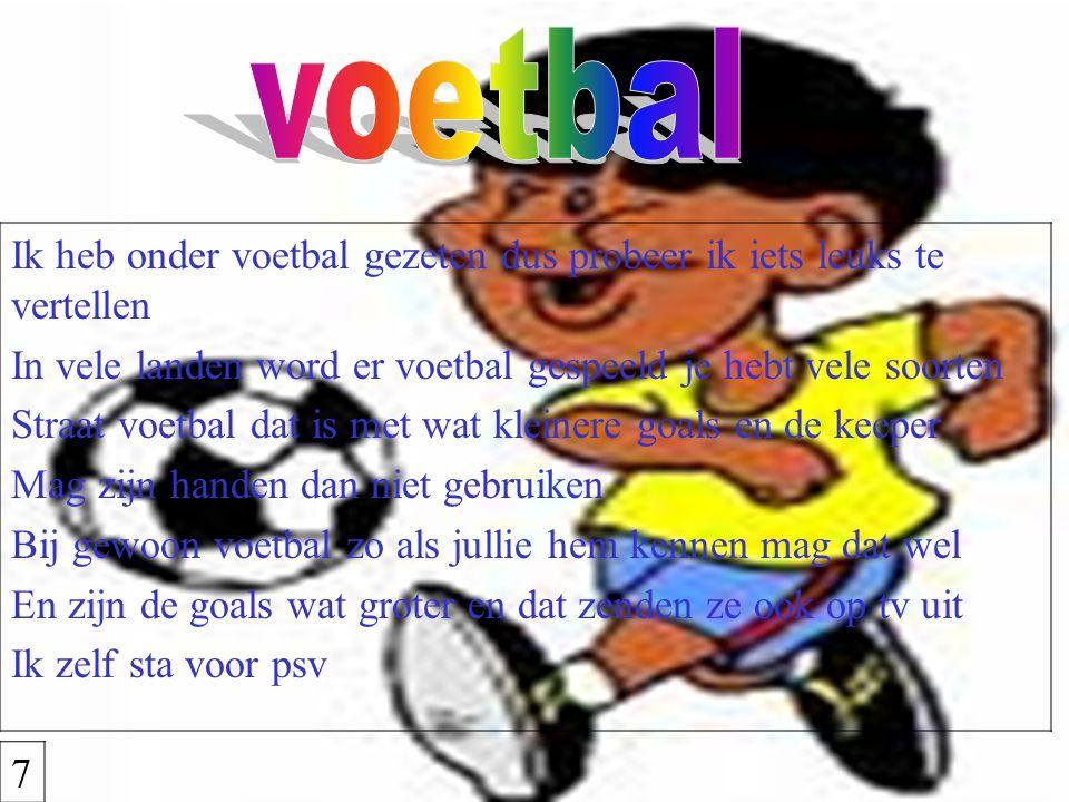 Ik heb onder voetbal gezeten dus probeer ik iets leuks te vertellen In vele landen word er voetbal gespeeld je hebt vele soorten Straat voetbal dat is