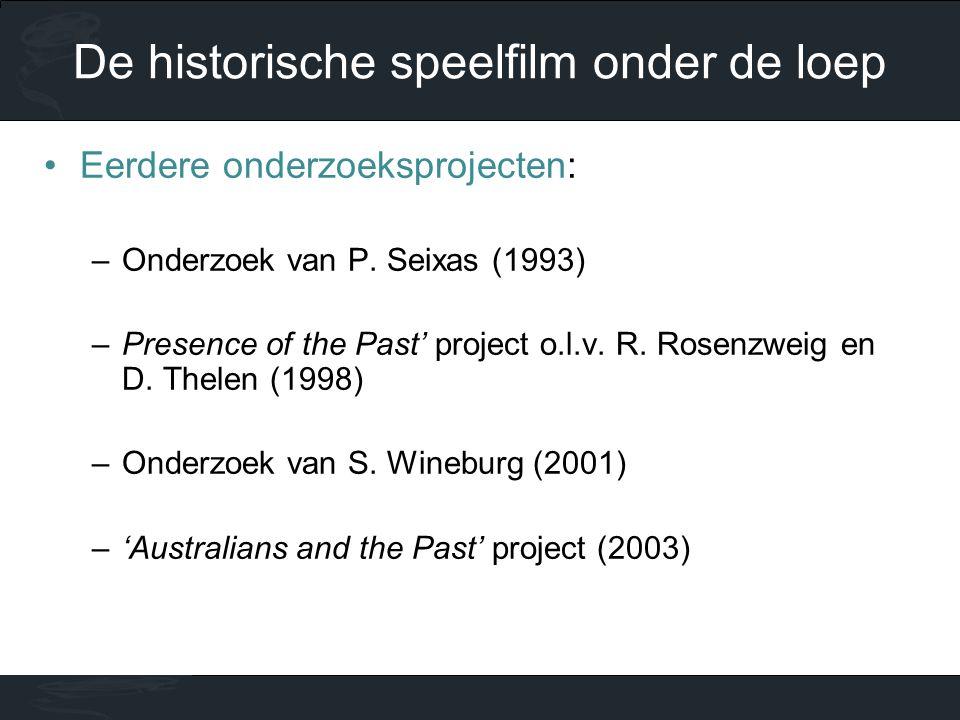 •Eerdere onderzoeksprojecten: –Onderzoek van P. Seixas (1993) –Presence of the Past' project o.l.v. R. Rosenzweig en D. Thelen (1998) –Onderzoek van S