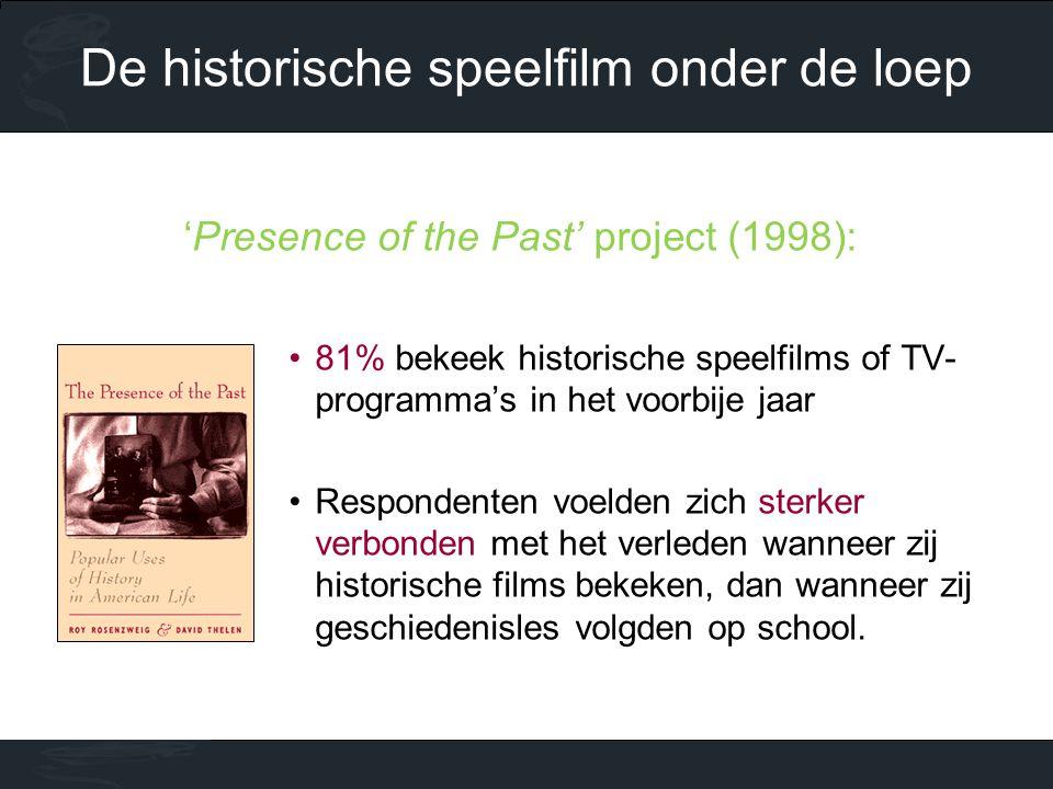 'Presence of the Past' project (1998): •81% bekeek historische speelfilms of TV- programma's in het voorbije jaar •Respondenten voelden zich sterker verbonden met het verleden wanneer zij historische films bekeken, dan wanneer zij geschiedenisles volgden op school.