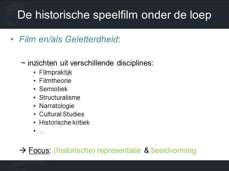 •Film en/als Geletterdheid: ~ inzichten uit verschillende disciplines: •Filmpraktijk •Filmtheorie •Semiotiek •Structuralisme •Narratologie •Cultural Studies •Historische kritiek •…  Focus: (historische) representatie & beeldvorming De historische speelfilm onder de loep