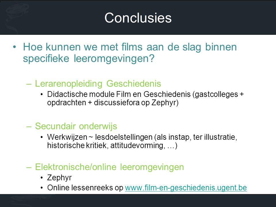 •Hoe kunnen we met films aan de slag binnen specifieke leeromgevingen? –Lerarenopleiding Geschiedenis •Didactische module Film en Geschiedenis (gastco