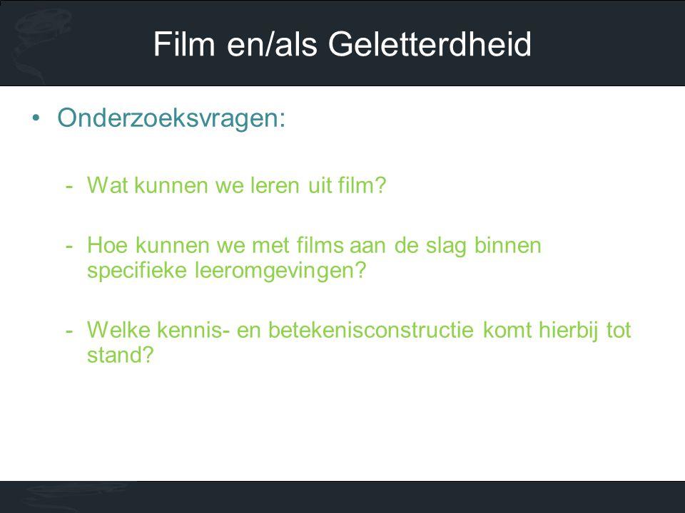 •Onderzoeksvragen: -Wat kunnen we leren uit film? -Hoe kunnen we met films aan de slag binnen specifieke leeromgevingen? -Welke kennis- en betekenisco
