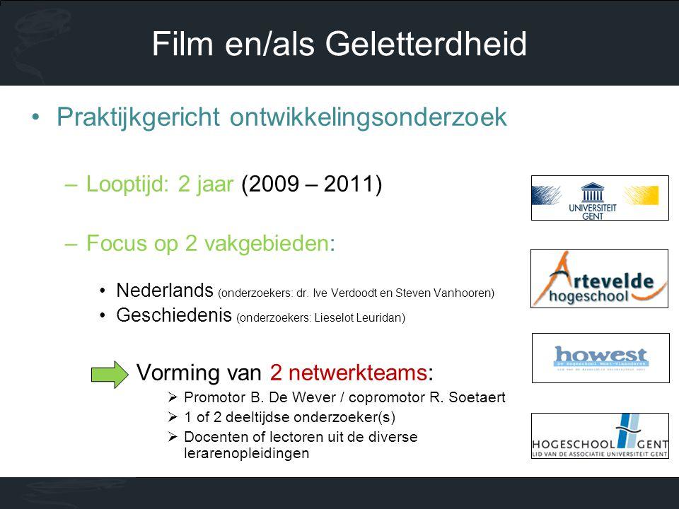 •Praktijkgericht ontwikkelingsonderzoek –Looptijd: 2 jaar (2009 – 2011) –Focus op 2 vakgebieden: •Nederlands (onderzoekers: dr. Ive Verdoodt en Steven