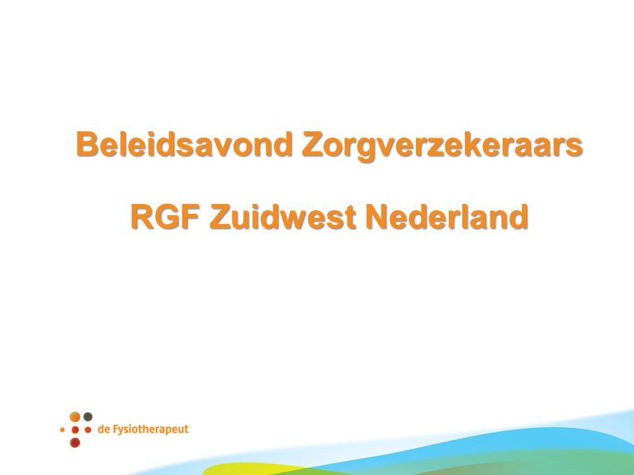 Beleidsavond Zorgverzekeraars RGF Zuidwest Nederland