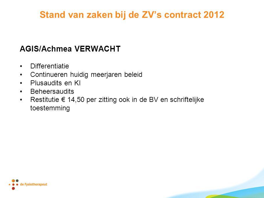 Stand van zaken bij de ZV's contract 2012 AGIS/Achmea VERWACHT •Differentiatie •Continueren huidig meerjaren beleid •Plusaudits en KI •Beheersaudits •Restitutie € 14,50 per zitting ook in de BV en schriftelijke toestemming