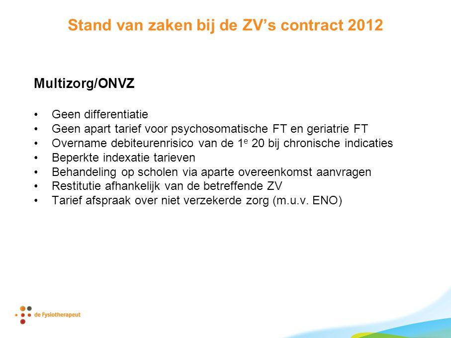 Stand van zaken bij de ZV's contract 2012 Multizorg/ONVZ •Geen differentiatie •Geen apart tarief voor psychosomatische FT en geriatrie FT •Overname de