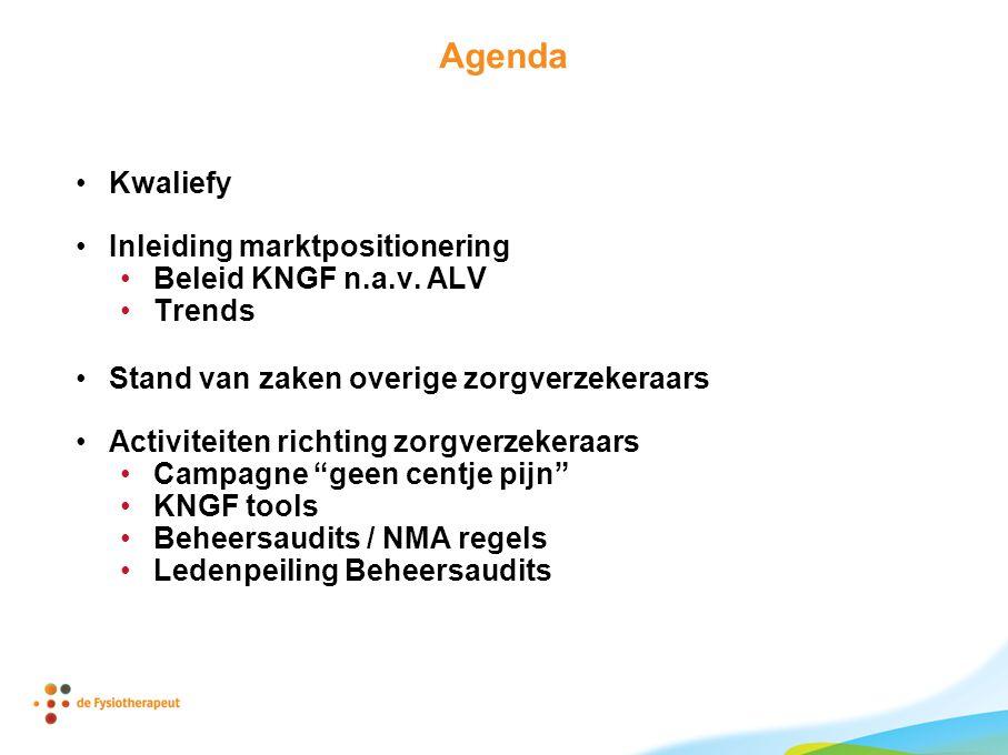 Agenda •Kwaliefy •Inleiding marktpositionering •Beleid KNGF n.a.v. ALV •Trends •Stand van zaken overige zorgverzekeraars •Activiteiten richting zorgve
