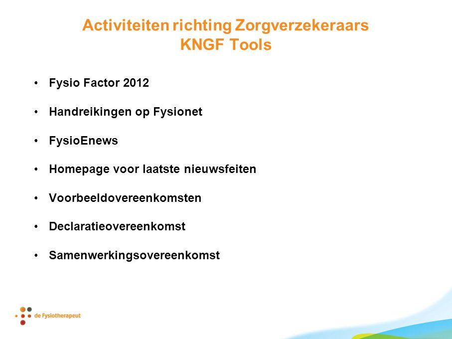 Activiteiten richting Zorgverzekeraars KNGF Tools •Fysio Factor 2012 •Handreikingen op Fysionet •FysioEnews •Homepage voor laatste nieuwsfeiten •Voorb