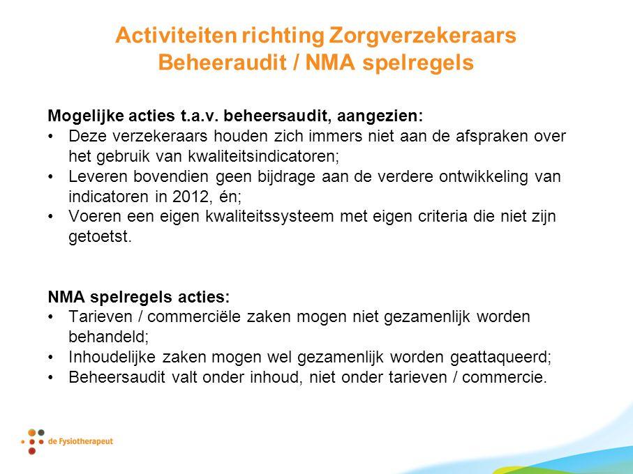 Activiteiten richting Zorgverzekeraars Beheeraudit / NMA spelregels Mogelijke acties t.a.v. beheersaudit, aangezien: •Deze verzekeraars houden zich im