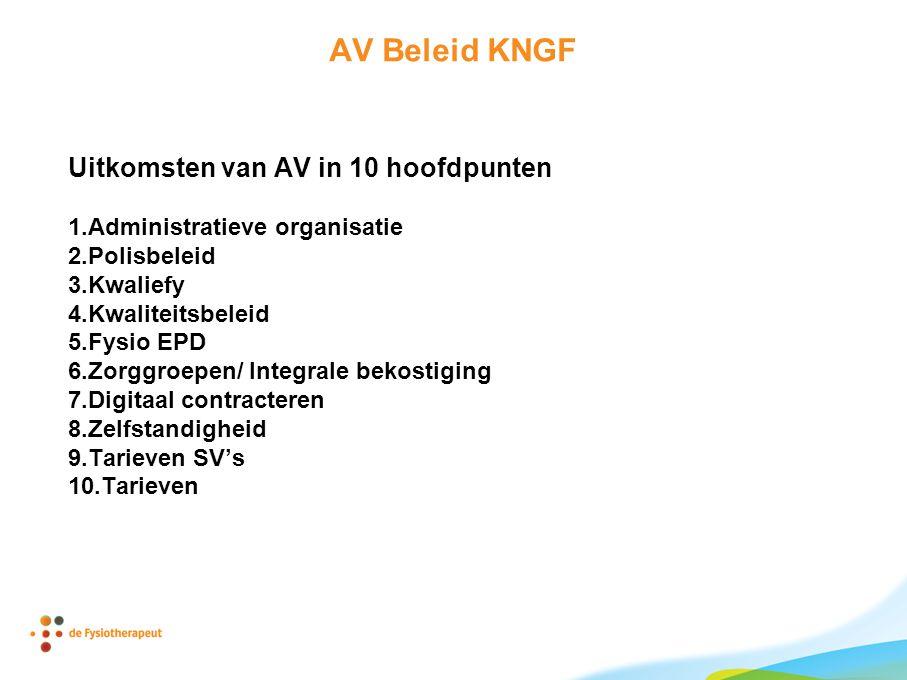 AV Beleid KNGF Uitkomsten van AV in 10 hoofdpunten 1.Administratieve organisatie 2.Polisbeleid 3.Kwaliefy 4.Kwaliteitsbeleid 5.Fysio EPD 6.Zorggroepen