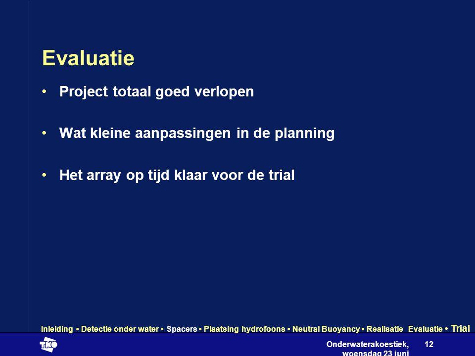 Onderwaterakoestiek, woensdag 23 juni 2004 12 Evaluatie •Project totaal goed verlopen •Wat kleine aanpassingen in de planning •Het array op tijd klaar