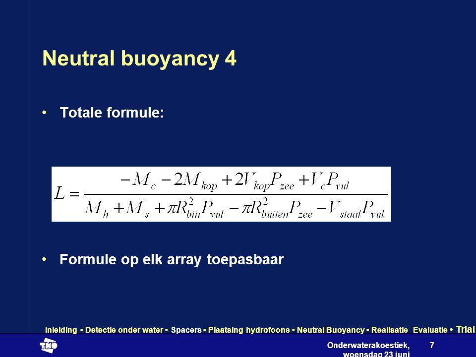 Onderwaterakoestiek, woensdag 23 juni 2004 7 Neutral buoyancy 4 •Totale formule: •Formule op elk array toepasbaar Inleiding • Detectie onder water • Spacers • Plaatsing hydrofoons • Neutral Buoyancy • Realisatie Evaluatie • Trial