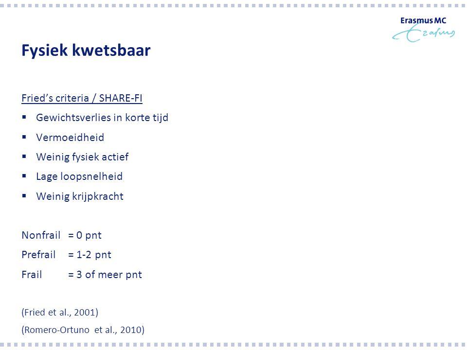 'Combi' (fysiek, mentaal, sociaal) Tilburg Frailty Indicator (TFI) Fysieke kwetsbaarheid Extra: geheugen, depressiviteit, eenzaamheid Frail = 5 of meer pnt (Gobbens et al., 2010)