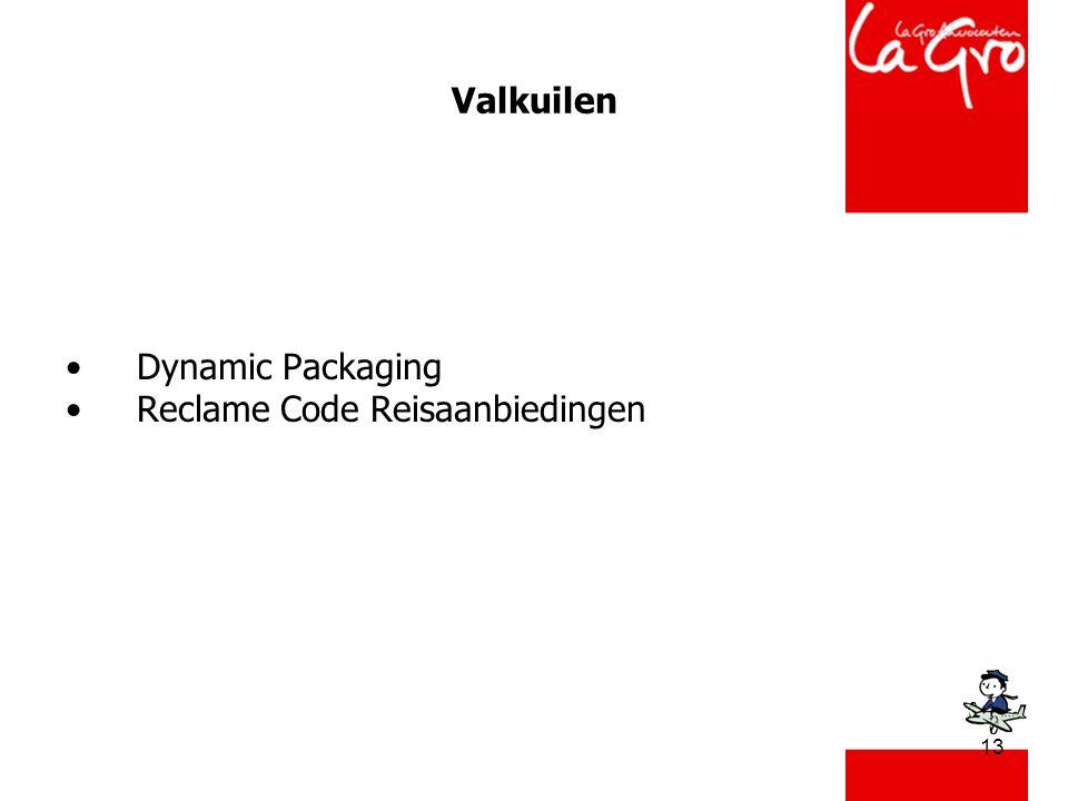 13 Valkuilen •Dynamic Packaging •Reclame Code Reisaanbiedingen