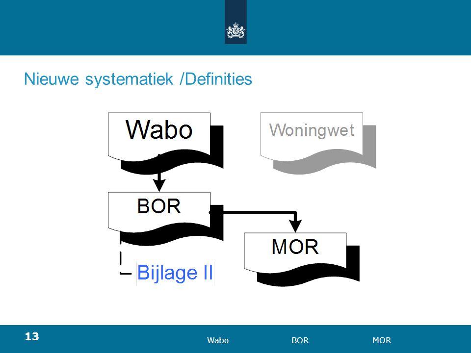 13 Nieuwe systematiek /Definities WaboBORMOR