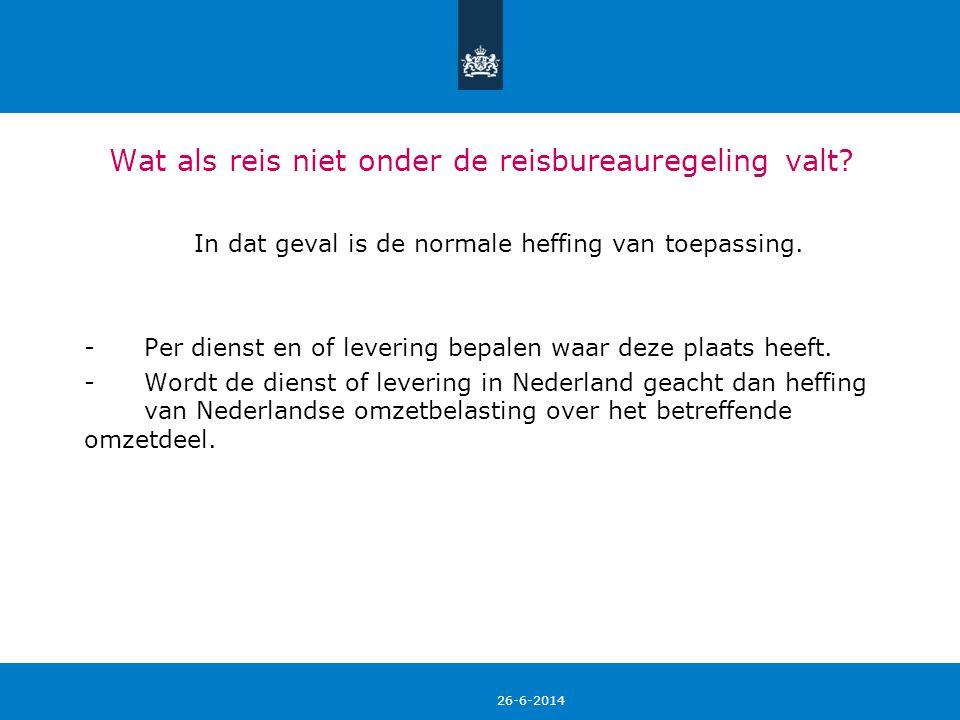 26-6-2014 18 Aftrek van voorbelasting • Alleen gefactureerde Nederlandse BTW kan voor verrekening in aanmerking komen, mits de kosten niet onder de reisbureauregeling vallen.