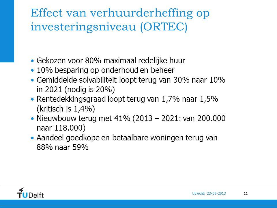 11 Utrecht/ 23-09-2013 Effect van verhuurderheffing op investeringsniveau (ORTEC) •Gekozen voor 80% maximaal redelijke huur •10% besparing op onderhou
