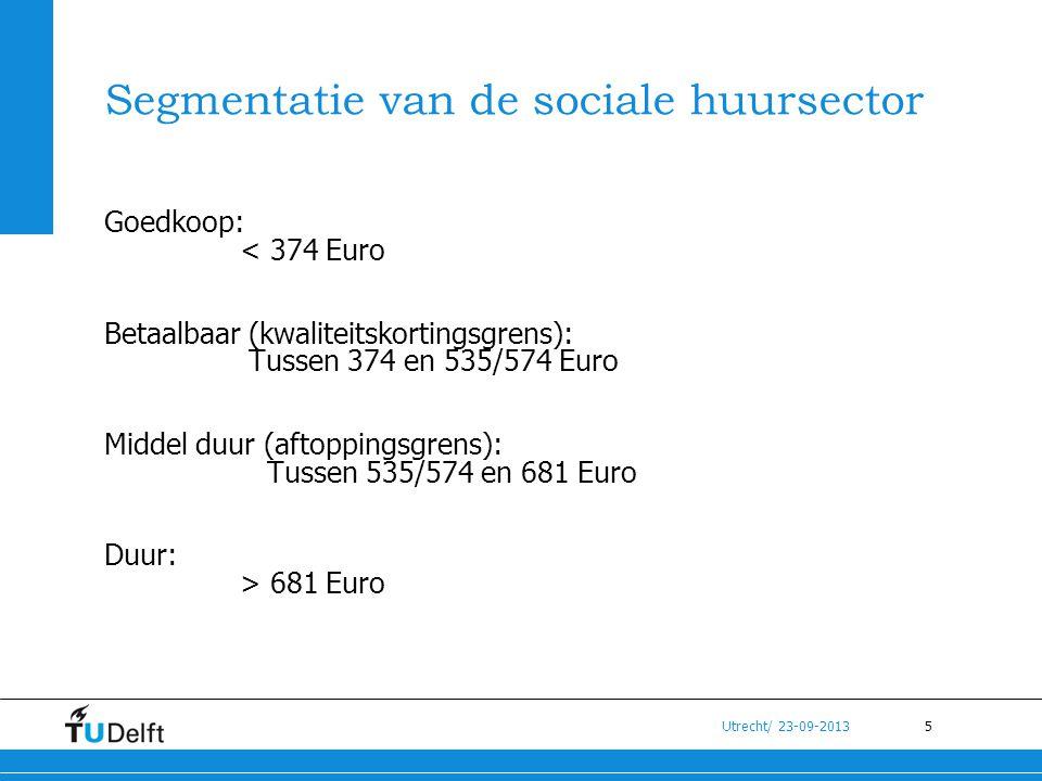 5 Utrecht/ 23-09-2013 Segmentatie van de sociale huursector Goedkoop: < 374 Euro Betaalbaar (kwaliteitskortingsgrens): Tussen 374 en 535/574 Euro Midd