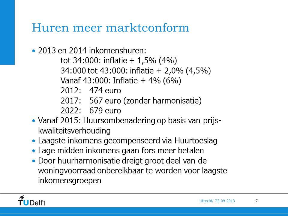 7 Utrecht/ 23-09-2013 Huren meer marktconform •2013 en 2014 inkomenshuren: tot 34:000: inflatie + 1,5% (4%) 34:000 tot 43:000: inflatie + 2,0% (4,5%)