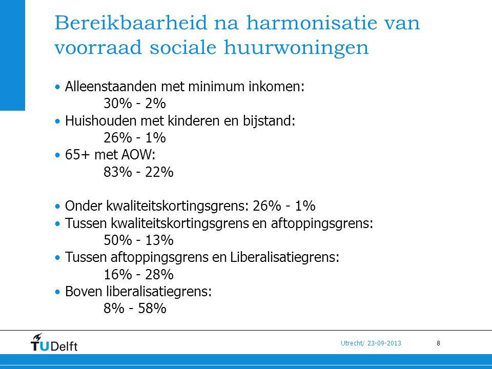 8 Utrecht/ 23-09-2013 Bereikbaarheid na harmonisatie van voorraad sociale huurwoningen •Alleenstaanden met minimum inkomen: 30% - 2% •Huishouden met k