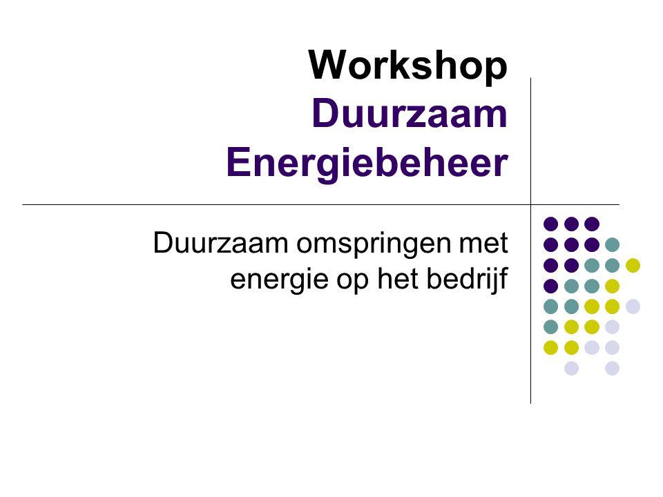 Workshop Duurzaam Energiebeheer Duurzaam omspringen met energie op het bedrijf