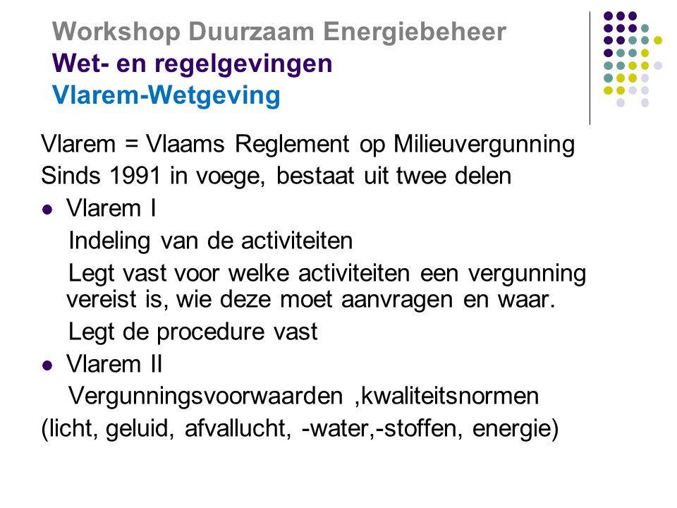 Workshop Duurzaam Energiebeheer Wet- en regelgevingen Vlarem-Wetgeving Vlarem = Vlaams Reglement op Milieuvergunning Sinds 1991 in voege, bestaat uit twee delen  Vlarem I Indeling van de activiteiten Legt vast voor welke activiteiten een vergunning vereist is, wie deze moet aanvragen en waar.
