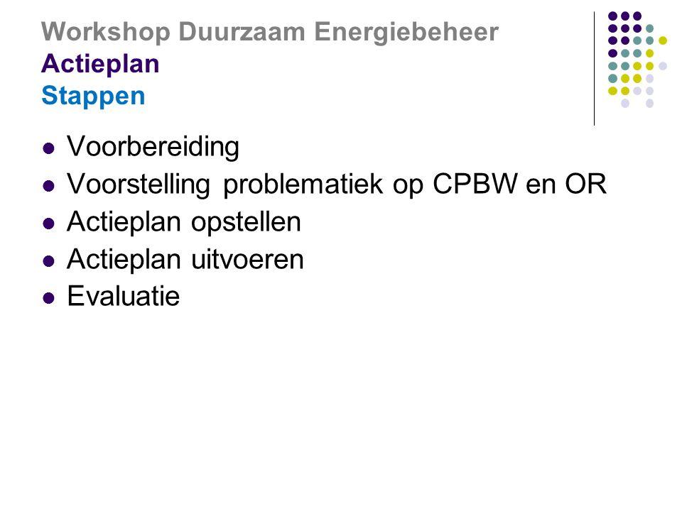 Workshop Duurzaam Energiebeheer Actieplan Stappen  Voorbereiding  Voorstelling problematiek op CPBW en OR  Actieplan opstellen  Actieplan uitvoeren  Evaluatie