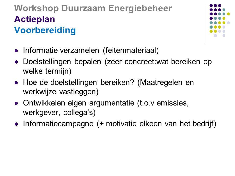 Workshop Duurzaam Energiebeheer Actieplan Voorbereiding  Informatie verzamelen (feitenmateriaal)  Doelstellingen bepalen (zeer concreet:wat bereiken op welke termijn)  Hoe de doelstellingen bereiken.