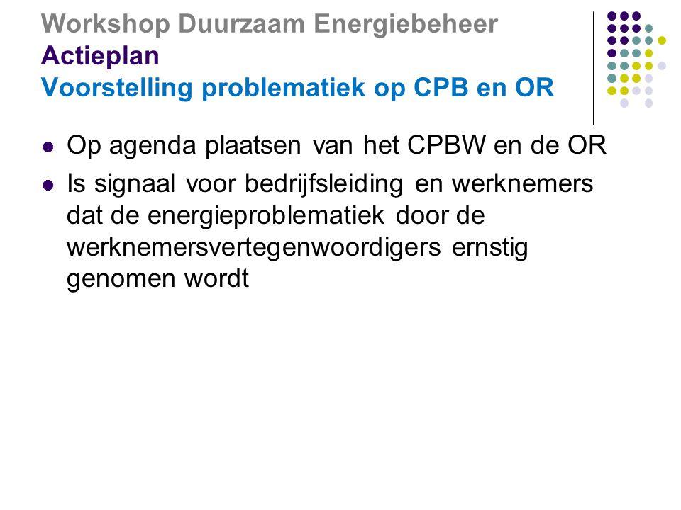 Workshop Duurzaam Energiebeheer Actieplan Voorstelling problematiek op CPB en OR  Op agenda plaatsen van het CPBW en de OR  Is signaal voor bedrijfsleiding en werknemers dat de energieproblematiek door de werknemersvertegenwoordigers ernstig genomen wordt