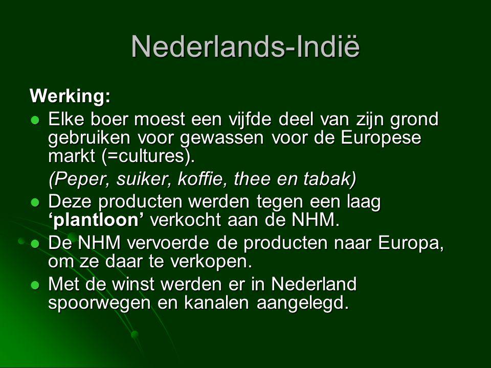 Nederlands-Indië Werking:  Elke boer moest een vijfde deel van zijn grond gebruiken voor gewassen voor de Europese markt (=cultures). (Peper, suiker,