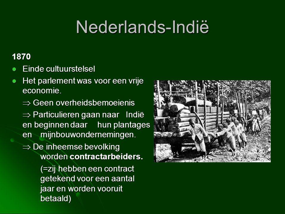 Nederlands-Indië 1870  Einde cultuurstelsel  Het parlement was voor een vrije economie.  Geen overheidsbemoeienis  Particulieren gaan naar Indië e