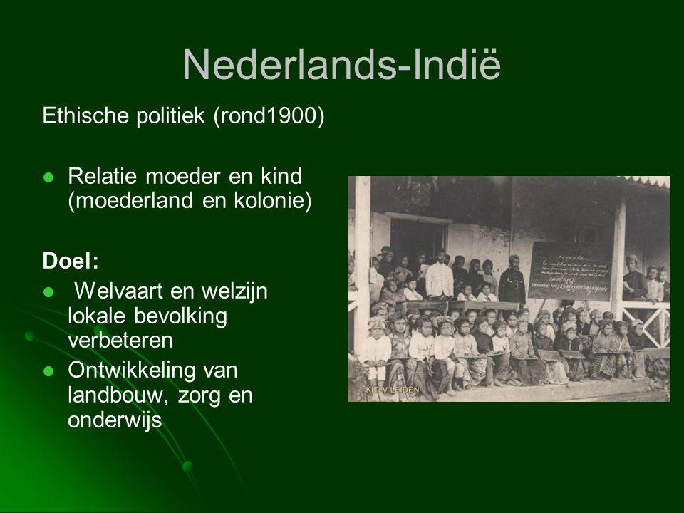 Nederlands-Indië Ethische politiek (rond1900)   Relatie moeder en kind (moederland en kolonie) Doel:   Welvaart en welzijn lokale bevolking verbet