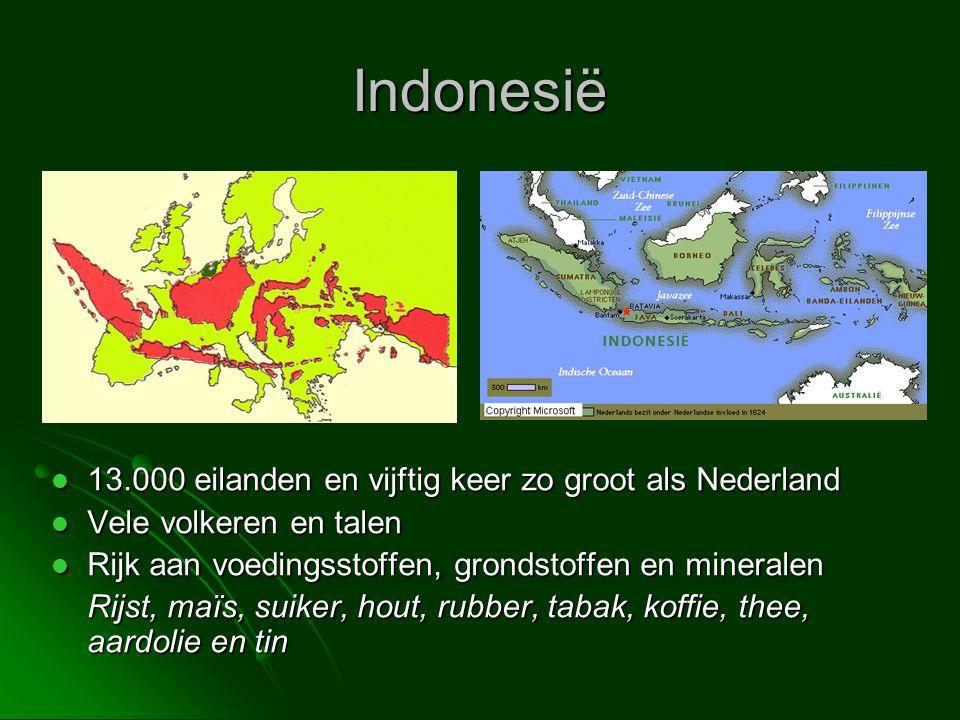Indonesië  13.000 eilanden en vijftig keer zo groot als Nederland  Vele volkeren en talen  Rijk aan voedingsstoffen, grondstoffen en mineralen Rijs