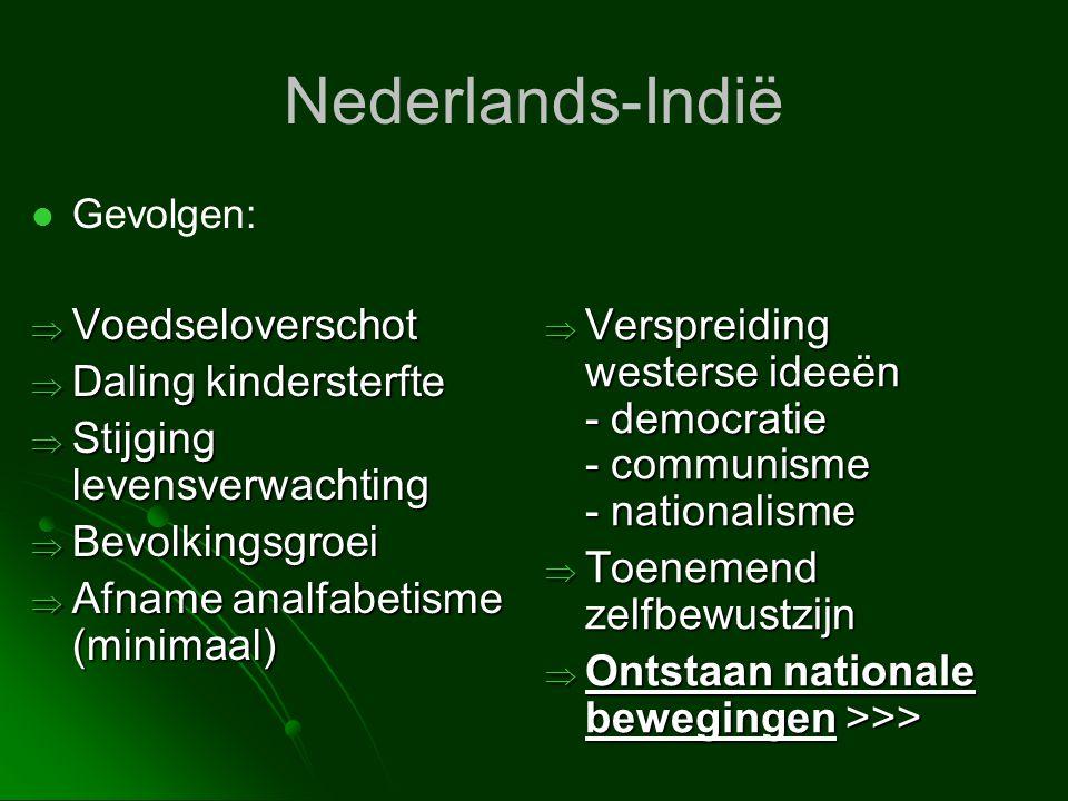 Nederlands-Indië   Gevolgen:  Voedseloverschot  Daling kindersterfte  Stijging levensverwachting  Bevolkingsgroei  Afname analfabetisme (minima