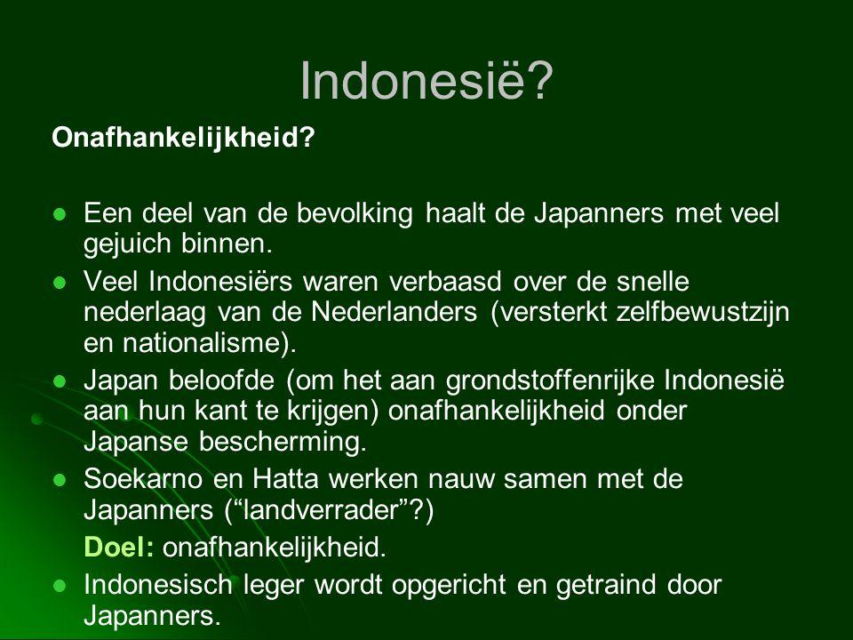 Indonesië? Onafhankelijkheid?   Een deel van de bevolking haalt de Japanners met veel gejuich binnen.   Veel Indonesiërs waren verbaasd over de sn