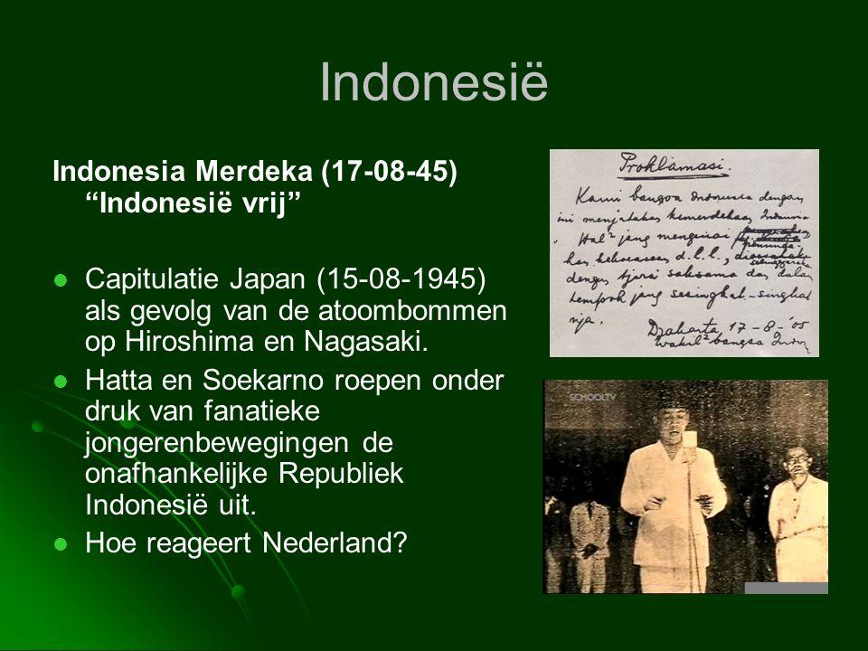 """Indonesië Indonesia Merdeka (17-08-45) """"Indonesië vrij""""   Capitulatie Japan (15-08-1945) als gevolg van de atoombommen op Hiroshima en Nagasaki.  """