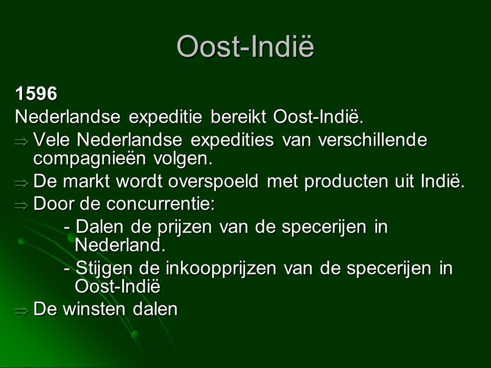 Oost-Indië 1596 Nederlandse expeditie bereikt Oost-Indië.  Vele Nederlandse expedities van verschillende compagnieën volgen.  De markt wordt overspo