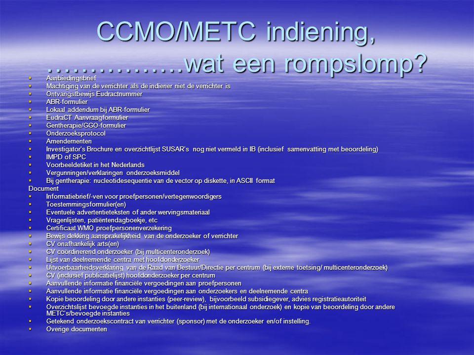 CCMO/METC indiening, …………….wat een rompslomp.