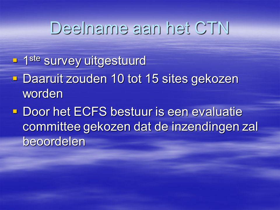 Deelname aan het CTN  1 ste survey uitgestuurd  Daaruit zouden 10 tot 15 sites gekozen worden  Door het ECFS bestuur is een evaluatie committee gekozen dat de inzendingen zal beoordelen