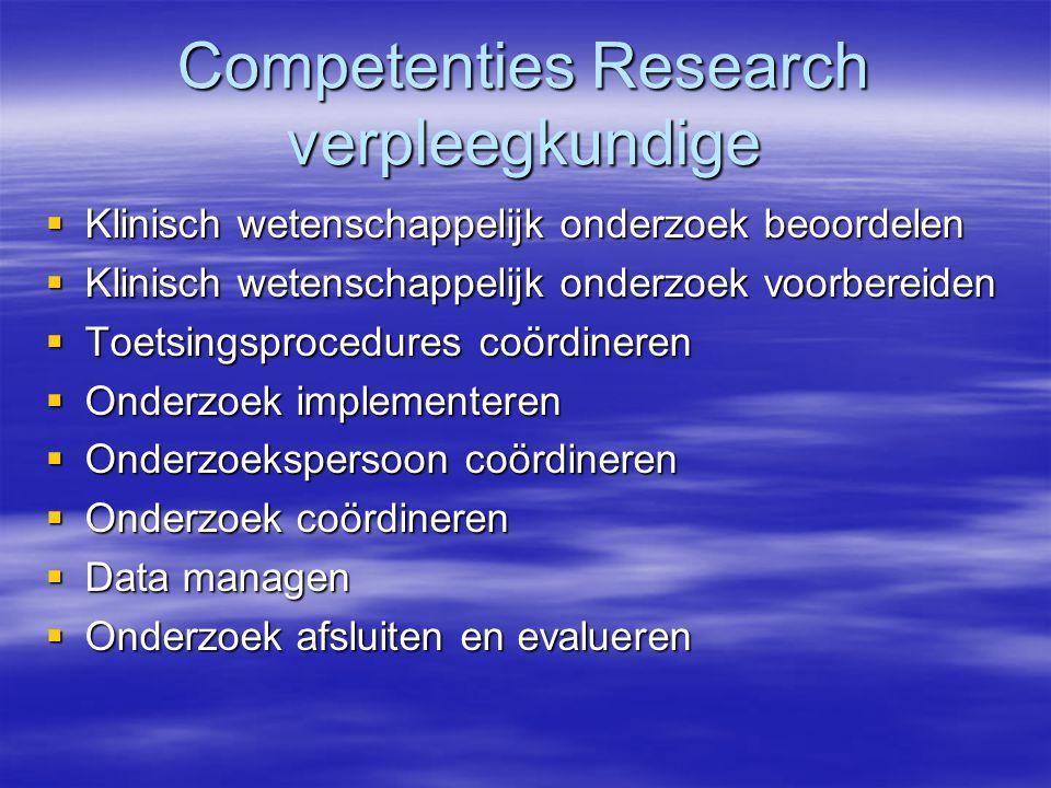 Competenties Research verpleegkundige  Klinisch wetenschappelijk onderzoek beoordelen  Klinisch wetenschappelijk onderzoek voorbereiden  Toetsingsprocedures coördineren  Onderzoek implementeren  Onderzoekspersoon coördineren  Onderzoek coördineren  Data managen  Onderzoek afsluiten en evalueren
