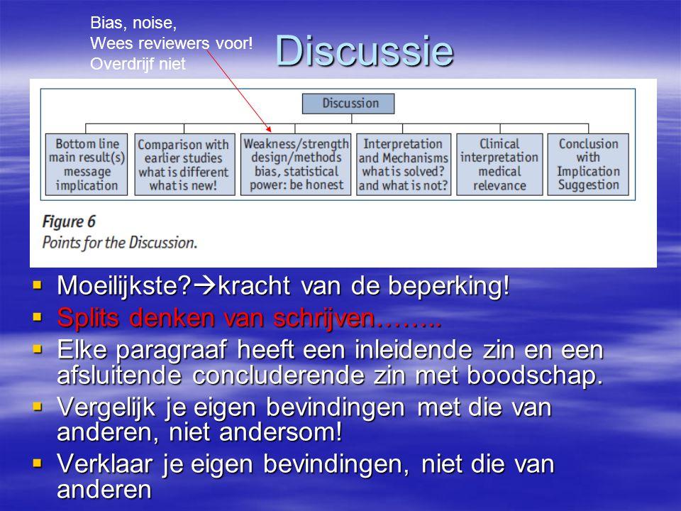 Discussie  Moeilijkste. kracht van de beperking.