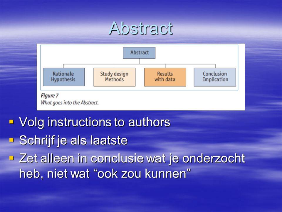 Abstract  Volg instructions to authors  Schrijf je als laatste  Zet alleen in conclusie wat je onderzocht heb, niet wat ook zou kunnen