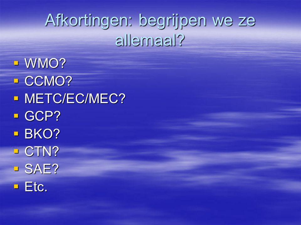 Afkortingen: begrijpen we ze allemaal. WMO.  CCMO.